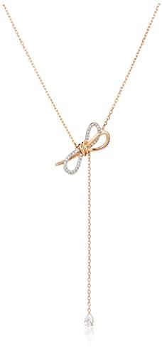 Swarovski Lifelong Bow Y-Halskette, Damenhalskette im Metallmix mit Schleifenmotiv und Funkelnden...