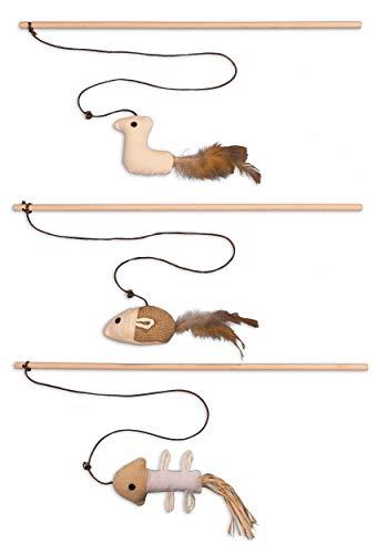 ecoworks Premium Katzenspielzeug |natürliche robuste Spielangel mit Maus | Stofftier 3er Set zur...