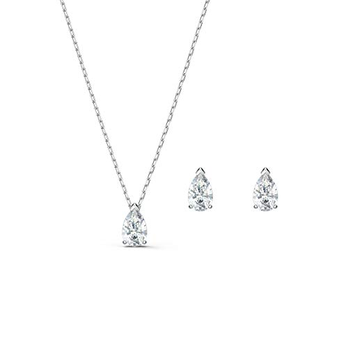 Swarovski Attract Pear Set, Rhodinierte Halskette und Ohrringe mit Funkelnden Weißen Swarovski...