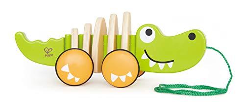 Hape E0348 - Krokodil 'Croc' - Nachziehspielzeug aus Holz, grün, ab 12 Monaten