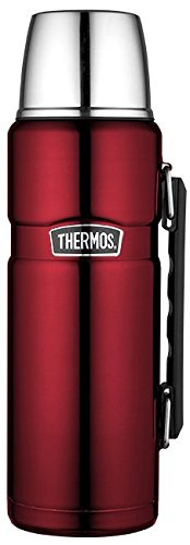 THERMOS Thermoskanne Edelstahl Stainless King, Edelstahl rot 1,2L, Isolierflasche mit Trinkbecher...