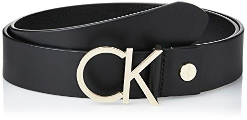 Calvin Klein Damen CK ADJ.LOGO BELT 3.5CM Gürtel, Schwarz (Black Leather & Light Gold Buckle 910),...