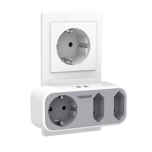 Doppelstecker für Steckdose, TESSAN 5 in 1 Steckdosenadapter mit 2 USB Anschluss, Mehrfachsteckdose...