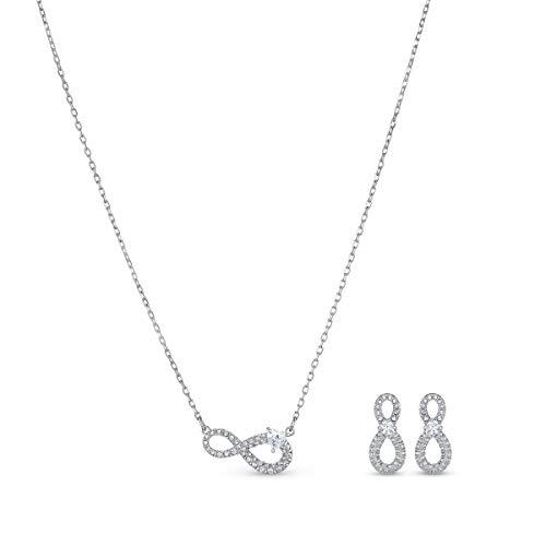 Swarovski Infinity Set, Rhodinierte Halskette und Ohrringe mit Unendlichkeitssymbol und Funkelnden...