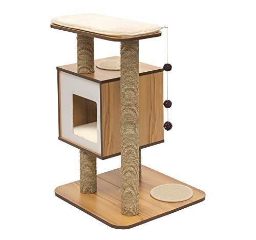 Vesper Katzenmöbel 'Base' walnut - Kubus-Höhle mit einer Plattform
