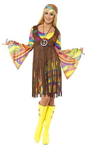 Smiffys, Damen 60er Groovy Lady Kostüm, Kleid, Weste und Stirnband, Hippie, Größe: X1, 35531,...