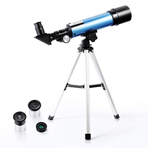 Astronomisches Teleskop für Kinder 90X HD Refraktor für Erziehungswissenschaften mit Stativ für...