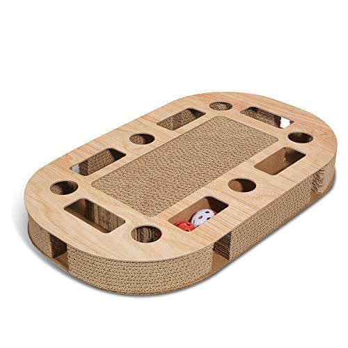 Supremery Katzenspielplatz 52x31x5,5cm mit integrierter Kratzpappe XXL Katzenspielzeug Kratzmöbel...