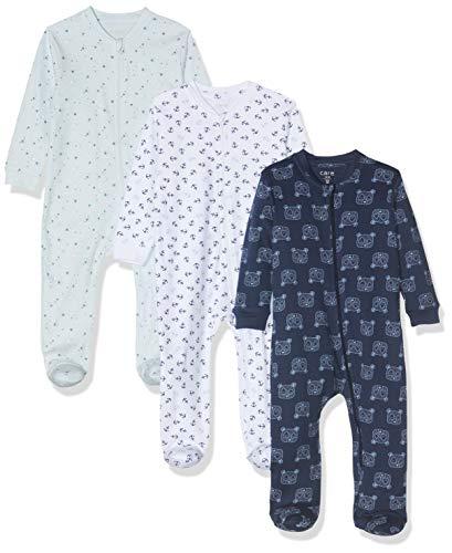 Amazon Exclusive: Care Baby Strampler mit Zip im 3er Pack, Blau (Lightblue 700), 86