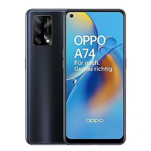 OPPO A74 Smartphone, 6,4 Zoll FHD+ AMOLED Display, 5.000 mAh Akku mit 30W VOOC 4.0 Schnellladen, 48...