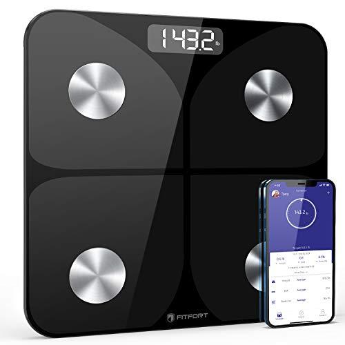 FITFORT Körperfettwaage Wireless Waage, Intelligente Digitale Personenwaage mit App, Smart Digitale...