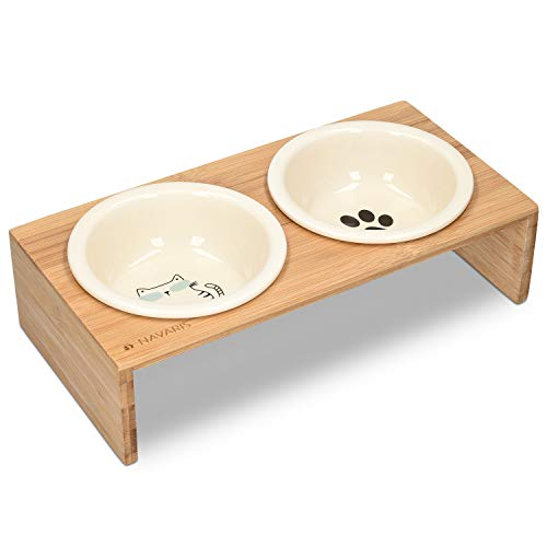 Navaris Futternapf Katze mit Bambus Halter - Futterstation Set Keramiknapf für Katzen Hunde -...