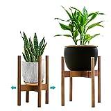 YEALEO Verstellbarer Pflanzenständer Mid Century Wood Blumenständer Modern Blumentopfhalter für...