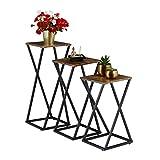 Relaxdays Pflanzenständer 3er Set, Blumensäule modern, Blumenständer Holzoptik & Metall,...