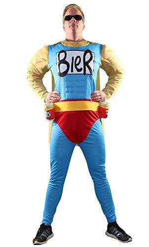 Foxxeo Das Biermann Helden Kostüm für echte Männer - Größe S-XXL - für Karneval Fasching...
