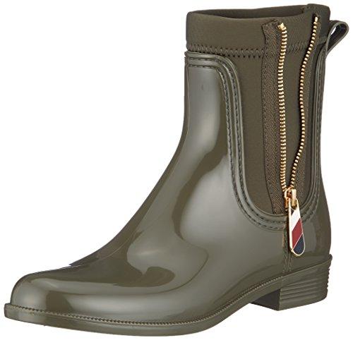 Tommy Hilfiger Damen Material Mix RAIN Boot Gummistiefel, Grün (Military 302), 39 EU