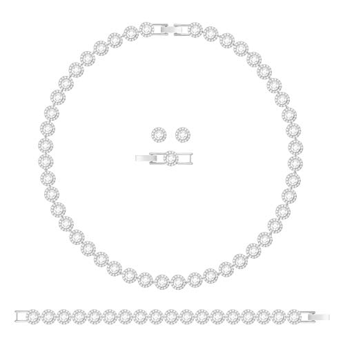 Swarovski Angelic Halskettenset, Rhodiniertes Set aus Halsketten, Ohrringen und Armband mit...