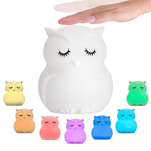 Pauleen 48033 Good Night Owl Nachtlicht Eule für Kinder mit Akku LED Kinderzimmerlampe mit...