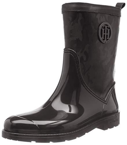 Tommy Hilfiger Damen Shiny CAMO RAIN Boot Gummistiefel, Schwarz (Black 990), 39 EU