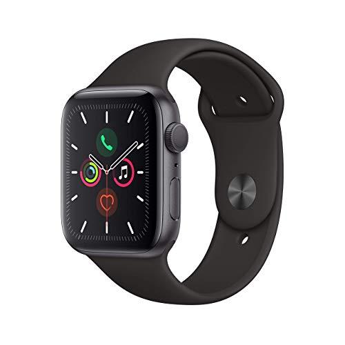 Apple Watch Series 5 44mm (GPS) - Aluminiumgehäuse Space Grau Schwarz Sportarmband...