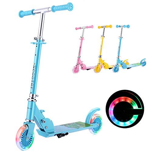 WeSkate Roller Kinder 2 Räder Klappbar Scooter, 3 Höhenverstellbare Kinderroller, PU Led-räder...