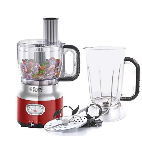 Russell Hobbs Küchenmaschine Retro rot, Retro-Anzeige, Standmixeraufsatz, Rührschüssel,...