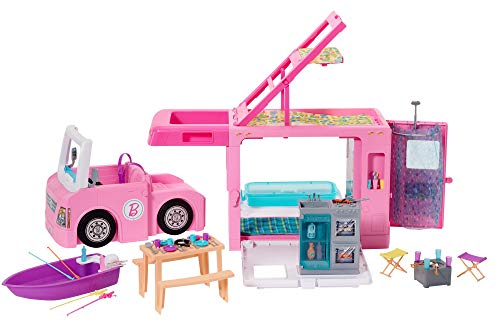 Barbie GHL93 - 3-in-1 Super Abenteuer-Camper mit Zubehör, Camping Wohnwagen für Puppen, Spielzeug...
