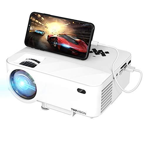 TOPVISION Mini Beamer mit Screen Mirroring, 7000 Lumen Heimkino Beamer Full HD 1080P Video Beamer...