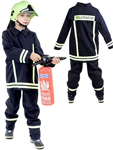 Foxxeo Feuerwehr Kostüm für Kinder – Verschiedene Größen von 92 bis 134 - Feuerwehrmann...