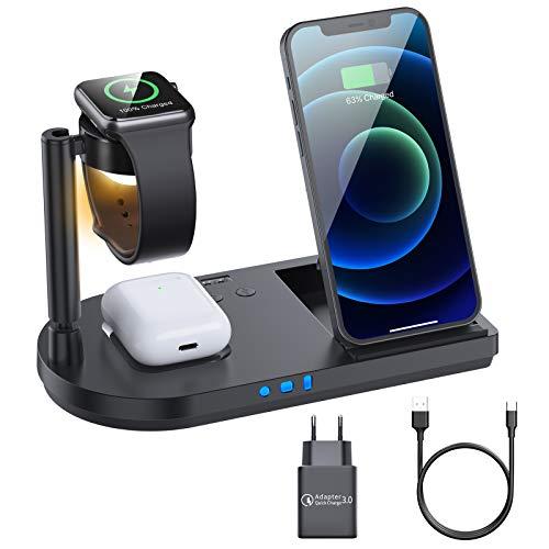 Kabelloses Ladegerät, 15W Fast Wireless Charger, 4 in 1 Induktive ladestation für Apple Watch...