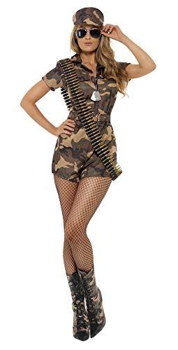 Smiffys, Damen Sexy Armee Girl Kostüm, Kurzoverall, Gürtel und Mütze, Größe: S, 28864