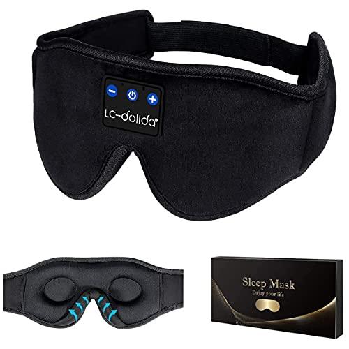Schlafkopfhörer Bluetooth, 3D Schlafmaske Augenmaske Schlaf Kopfhörer, Bluetooth 5.2 Sleepphones...