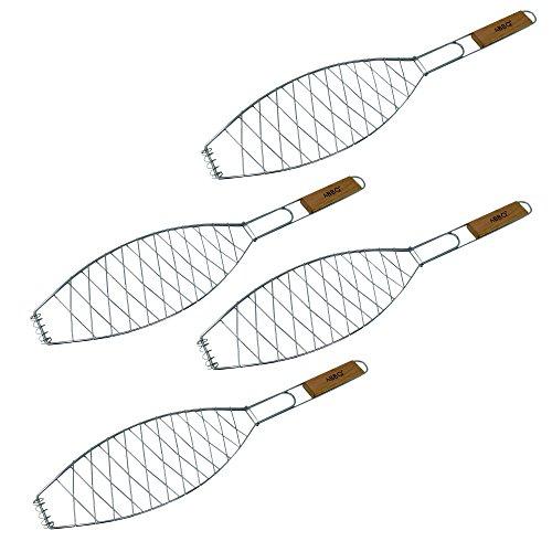 ToCis Big BBQ 4X Fischgriller (Silber) mit Holzgriff | Große Fischbräter aus Metall (57 x 13 cm)