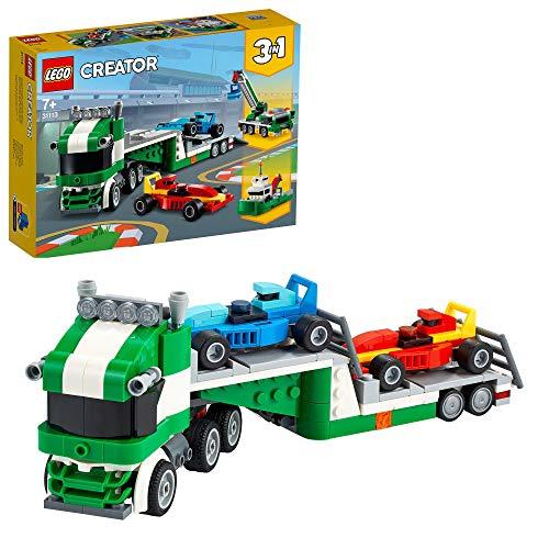 LEGO 31113 Creator 3-In-1 Rennwagentransporter Spielzeug LKW mit Anhänger, Kran und Boot, Rennwagen...