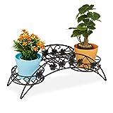 Relaxdays Blumentreppe, 3 Ablagen, gebogener Pflanzenständer, In-& Outdoor, antik, Eisen, HBT 21 x...
