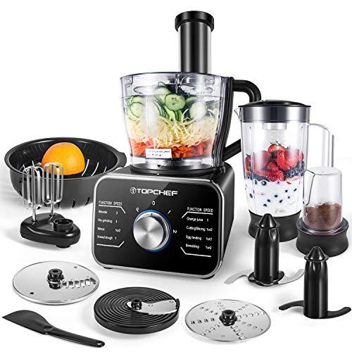 TOPCHEF Küchenmaschine 1100 W kompakte Küchenmaschine (mit Zubehör inklusive: Knethaken, Mixer,...