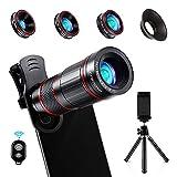 Crenova Handy Objektiv Kamera Linse 10 in 1 Kit 22x Teleobjektiv, 235° Fischaugenobjektiv, 25...