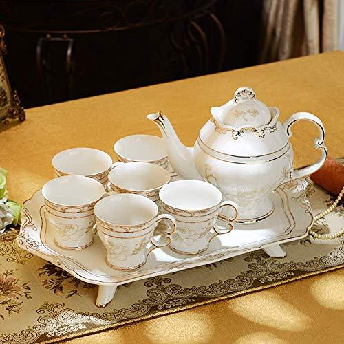 NOSSON 8-teiliges Teeservice aus britischem Porzellan, Tee-Party-Set für Erwachsene, rote Blumen,...