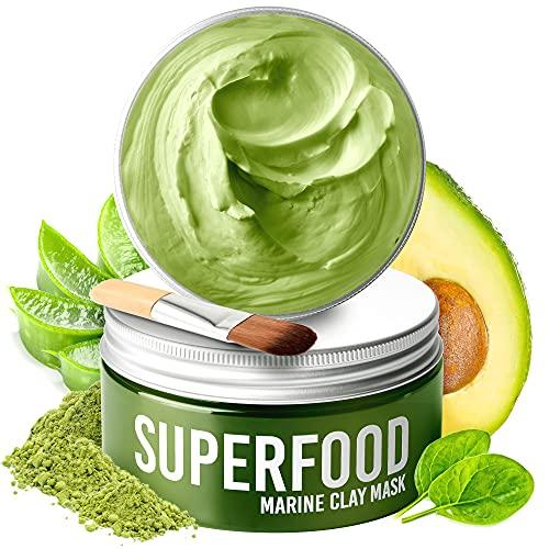 Gesichtsmaske mit Avocado & Superfoods 100ml | Gesicht Polierer aus Meereslehm | Gesichtsporen -...
