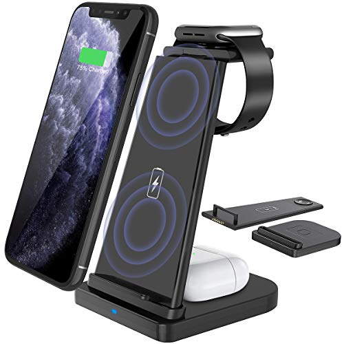 Yaature Kabelloses Ladegerät [Abnehmbar], 3 in 1 Qi Fast Wireless Charger für Apple Watch...
