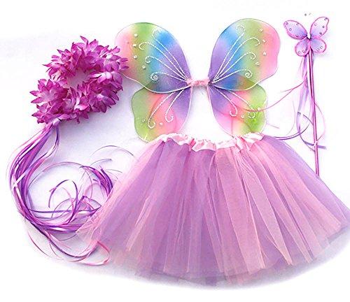 Tante Tina Schmetterling Kostüm Mädchen - 4-teiliges Mädchen Kostüm Schmetterling mit Tüllrock...