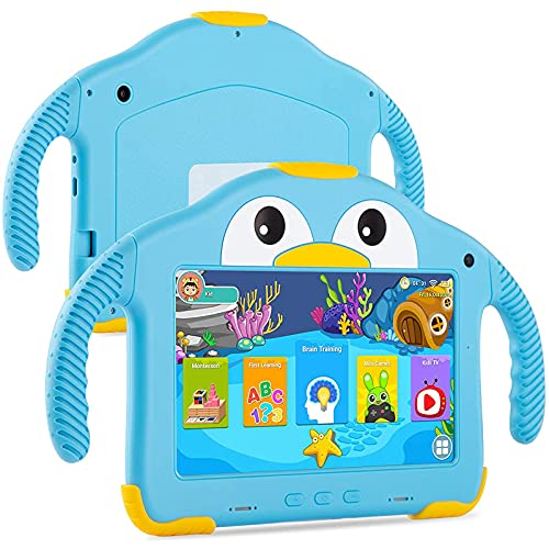 Kinder Tablet 7 Zoll, Kleinkind-Tablet-PC, Quad Core Android 10.0, 32GB ROM, WLAN, Dual-Kamera,...