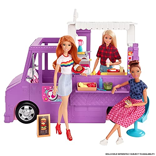 Barbie GMW07 Food Truck Fahrzeug Spielset mit 30+ Zubehörteile, Mädchen Spielzeug ab 3 Jahren