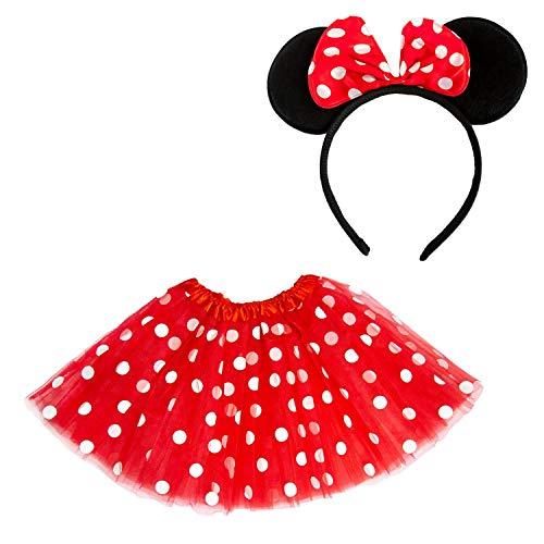 Oblique Unique® Damen Maus Mouse Kostüm Rot Weiß Schwarz mit Tutu Gepunktet + Haarreifen mit Maus...