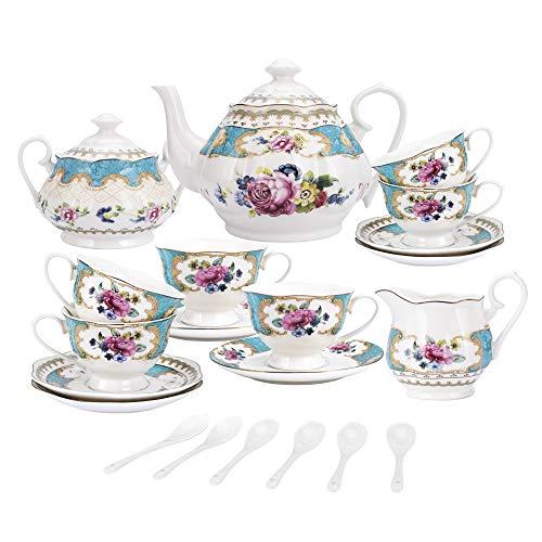 fanquare 15 Stück Englisch Türkis Porzellan Tee Sets,Vintage Rose Blumen Keramik Kaffee...