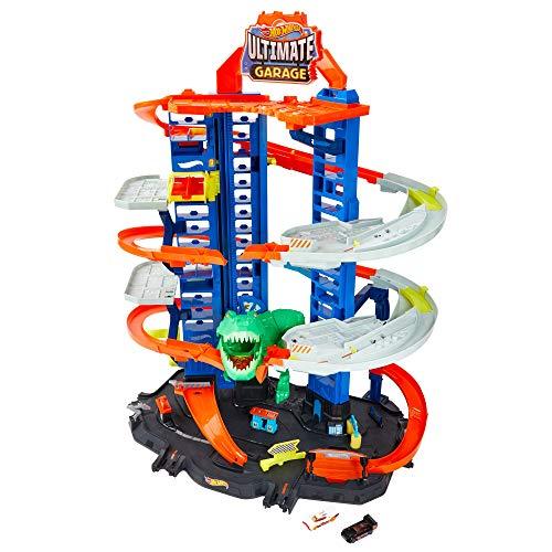 Hot Wheels GJL14 City Robo T Rex Megacity Parkgarage mit Spielzeug Dinosaurier inkl. 2...
