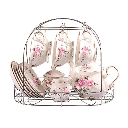 Tee-Set Europäischen Stil Porzellan, Golden Kamelie Gedruckt Keramik Porzellan Teetasse Mit Deckel...
