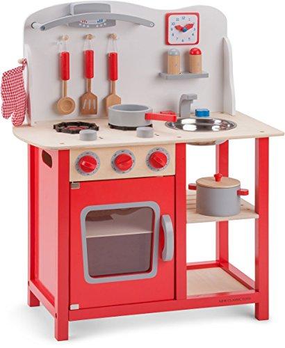 New Classic Toys - 11055 - Kinderrollenspiele - Hölzern Kinderküche Bon Appétit - Rot -...