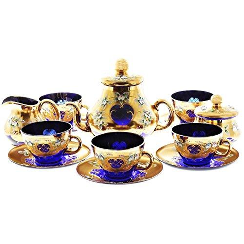 Exklusiver Kaffeeservice Cafeservice Blue Queen 15 Teilig Blau Gold 6 Tassen + 6 Untertassen + 1...
