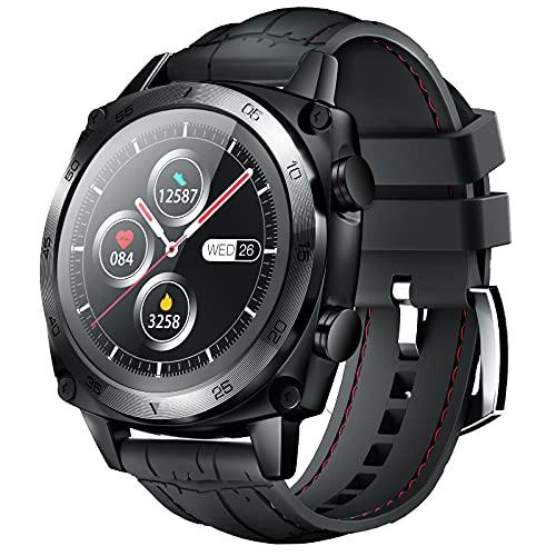 CUBOT C3 Smartwatch Herren, Android Wear Fitnessuhr, 5ATM Wasserdicht Uhr, Rund Watch mit...